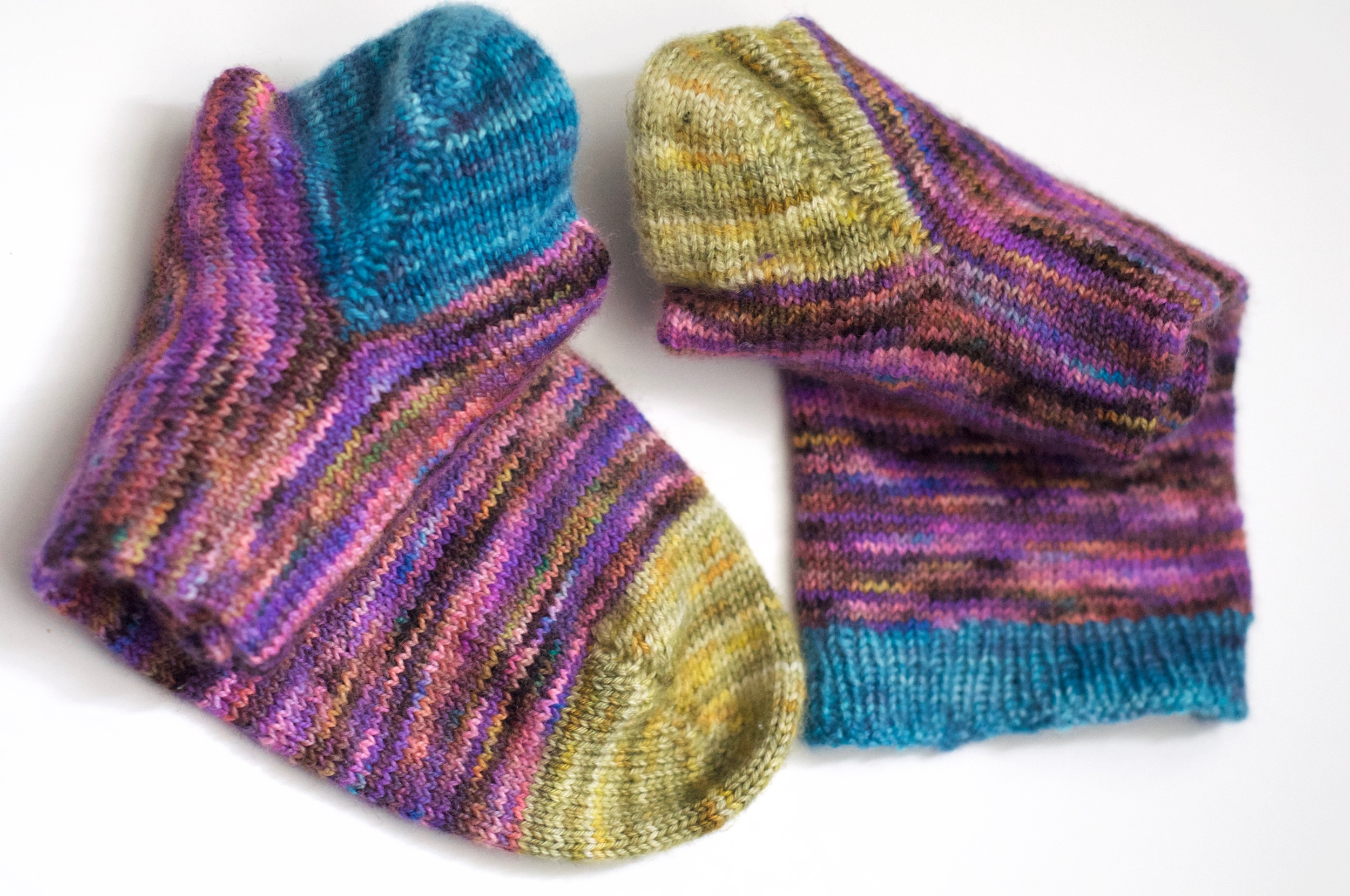 "Yarn:  Hedgehog Fibres  Twist Sock ""Flashdance"" and  Skein Yarn  for toes and heels"