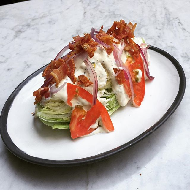 Not just burgers- wedge salad, iceberg lettuce, tomate, red onion, bacon, blue cheese, ranch dressing. . . . . . #salad #healthyfood #healthy #lettuce #bluecheese @birdiesburgers @doce18concepthouse