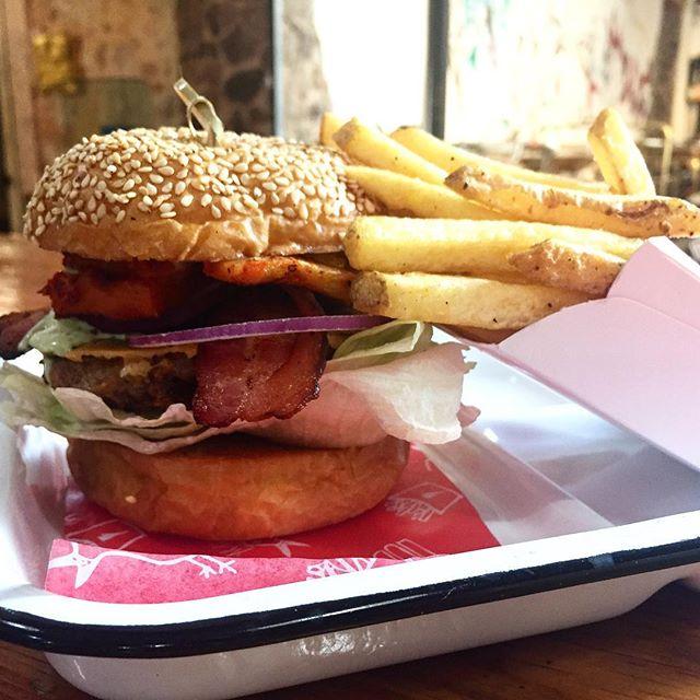 """Burger of The Week"" Al pastor . . . . . . . #sanmigueldeallende #mexico #burger #alpastor #hamburguesa #fries #frenchfries"