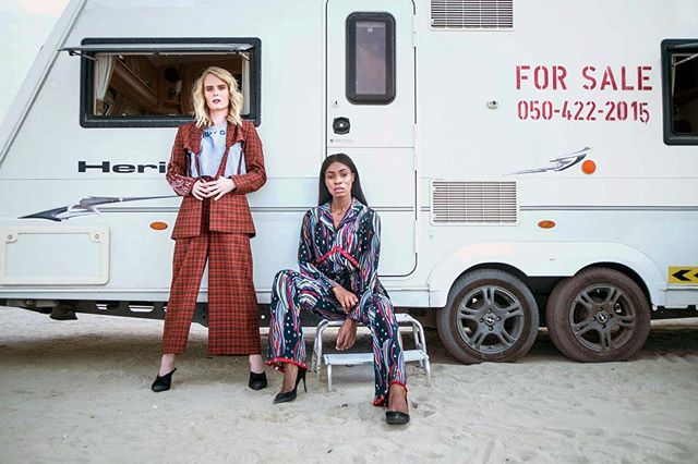 {CARAVANING}: Home is wherever the caravan parks  FEATURING @eddiesgun91 🏇 & @odette_campbell 🧘♂️⭐️ in CATO's suit and Laciel Silk Pajama set NOW online! Hair & makeup @riccicapriccisalon Shot by @oznewcombe  Shop this collection on REEMAMI.myshopify.com  #reemami #reemamiss18 #travelcampaign #caravans #dubai #graziame #wanderer #wanderlust #happiness #springsummer18