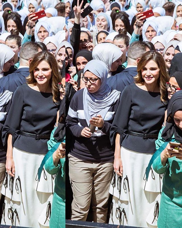 Because we do doubles & this is on another level ♥️🙌🏻 @queenrania in #reemami knotted skirt queenrania #reemami #queenraniastyle #elegance #saynotobullying #jordan #lovejo #queenraniafashion