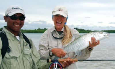 Bonefish caught on Turneffe Atoll Belize.