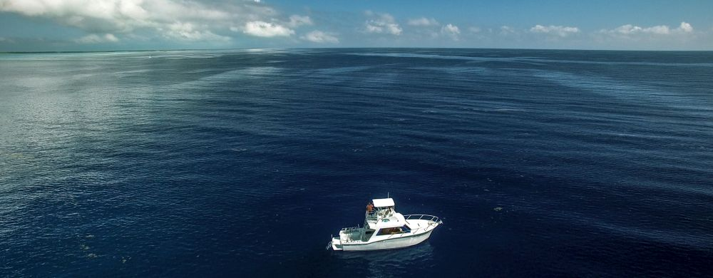 Scuba diving boat on Turneffe atoll Belize.