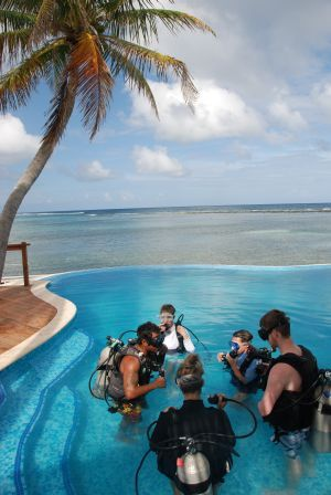 Scuba diving instruction is done from the safety of our pool or the end of the dock