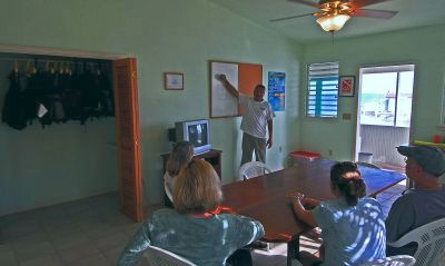 Classroom instruction session for scuba diving classes