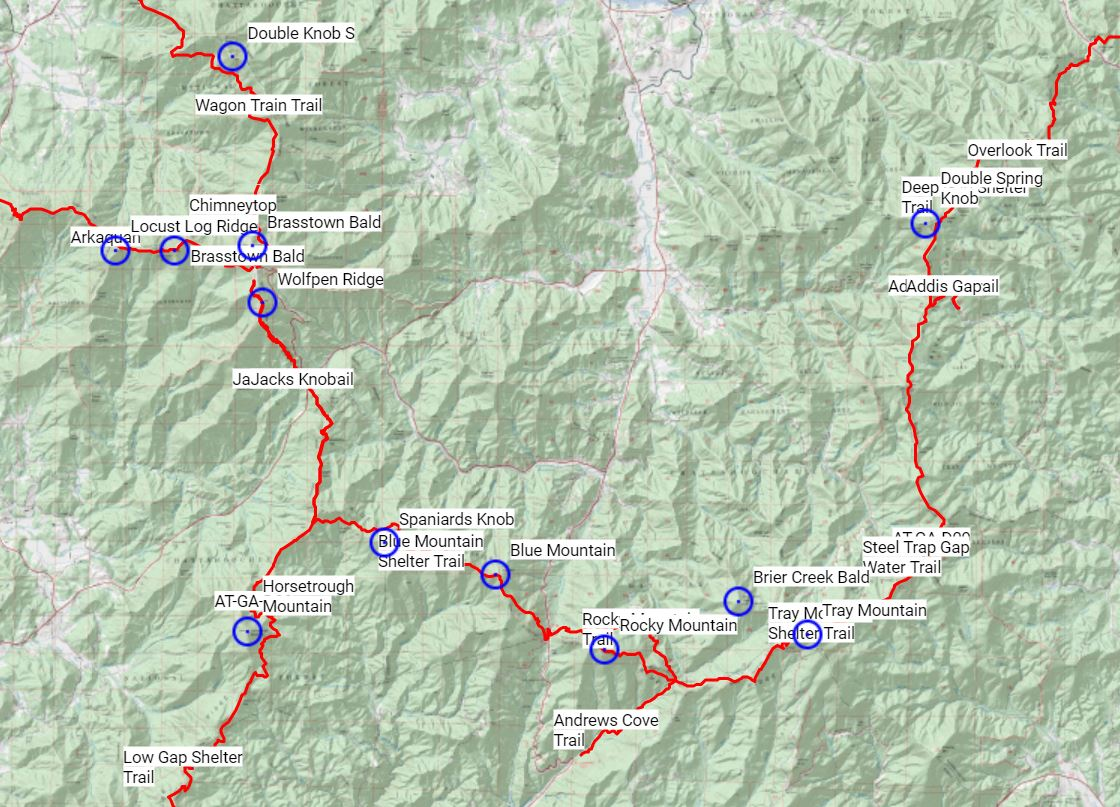 GA 4K Interactive Map - Courtesy of Georgia Appalachian Trail Club