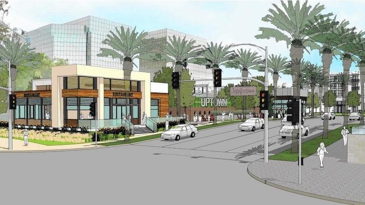 A rendering depicts the Uptown Newport project along Jamboree Road near John Wayne Airport. The development is planned to have about 1,250 residential units, 10,700 square feet of retail space and two 1-acre parks. (Courtesy city of Newport Beach)
