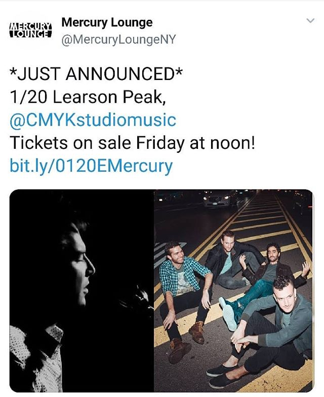 JUST ANNOUNCED: CMYK will return to @mercuryloungeny to support @learsonpeak on Sunday 1/20! Tix on sale this Friday! . . . . . . #cmyk #crandangular #livemusicnyc #livemusic #mercurylounge #mercuryloungenyc