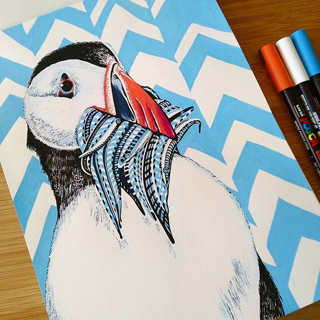 And now for something completely different! New sketchbook, new ideas, new styles. Curious where it will take me! . . . #puffin #seabird #wildlife #instaanimal #instaart #sketchbook #poscapens #posca #illustration #illustrate #pattern #arts_promote #imadethis #illustratorsofinstagram #illustrationoftheday