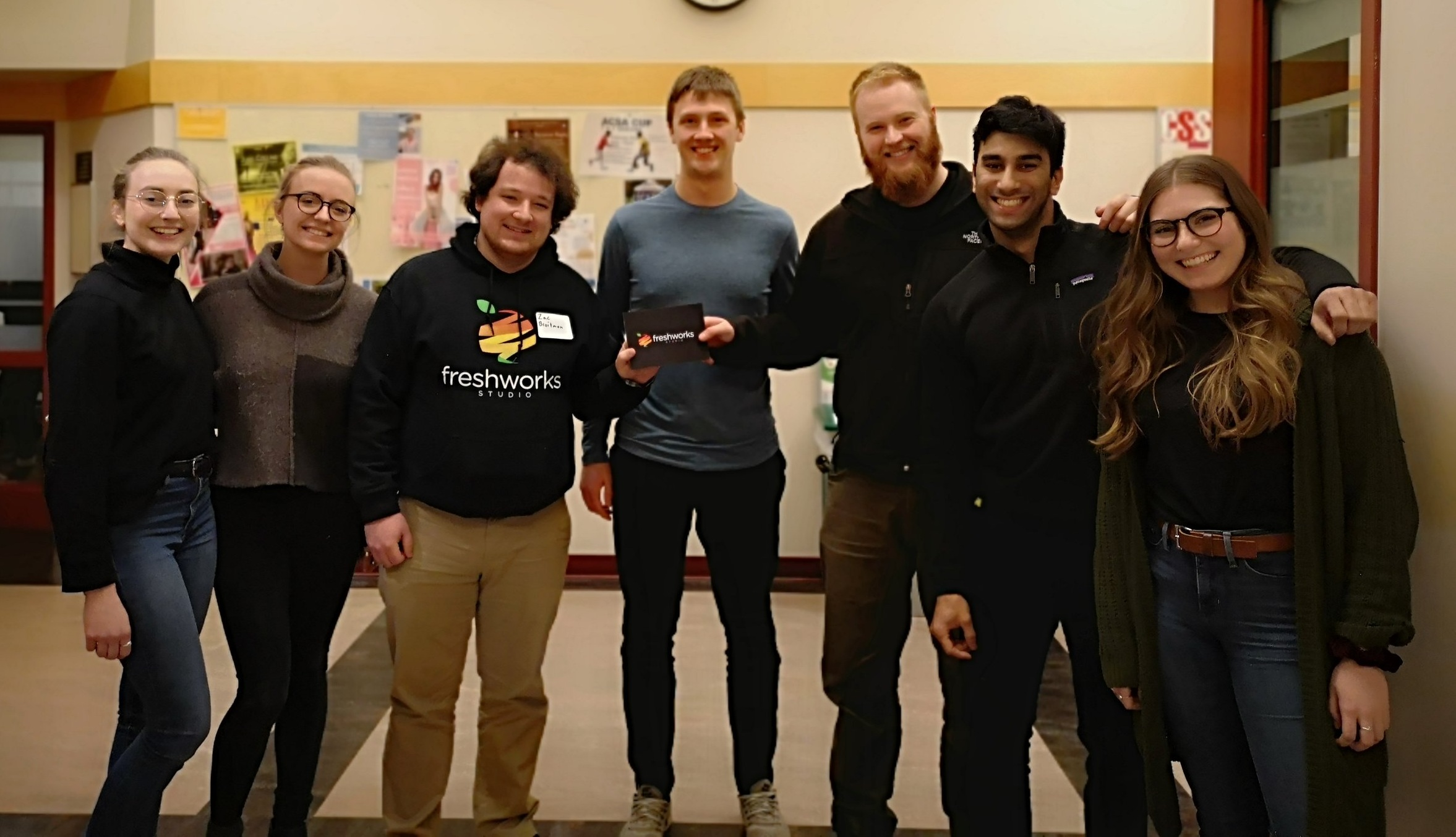 The overall winners of the Design Sprint case competition with FreshWorks' Business Analyst Zac
