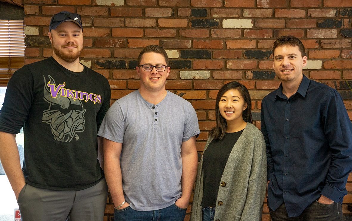 The FreshWorks team behind the MindShift mobile application development (from left to right): Connor, Ian, Judy, & Etienne