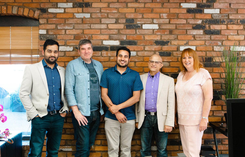 From left to right: Samarth Mod (FreshWorks CEO), Stuart Silberg (APFM CTO), Rohit Boulchandani (FreshWorks COO), Nitin Chandra (APFM Director of Apps), Bernie Ziegler (APFM Director of Quality Assurance)