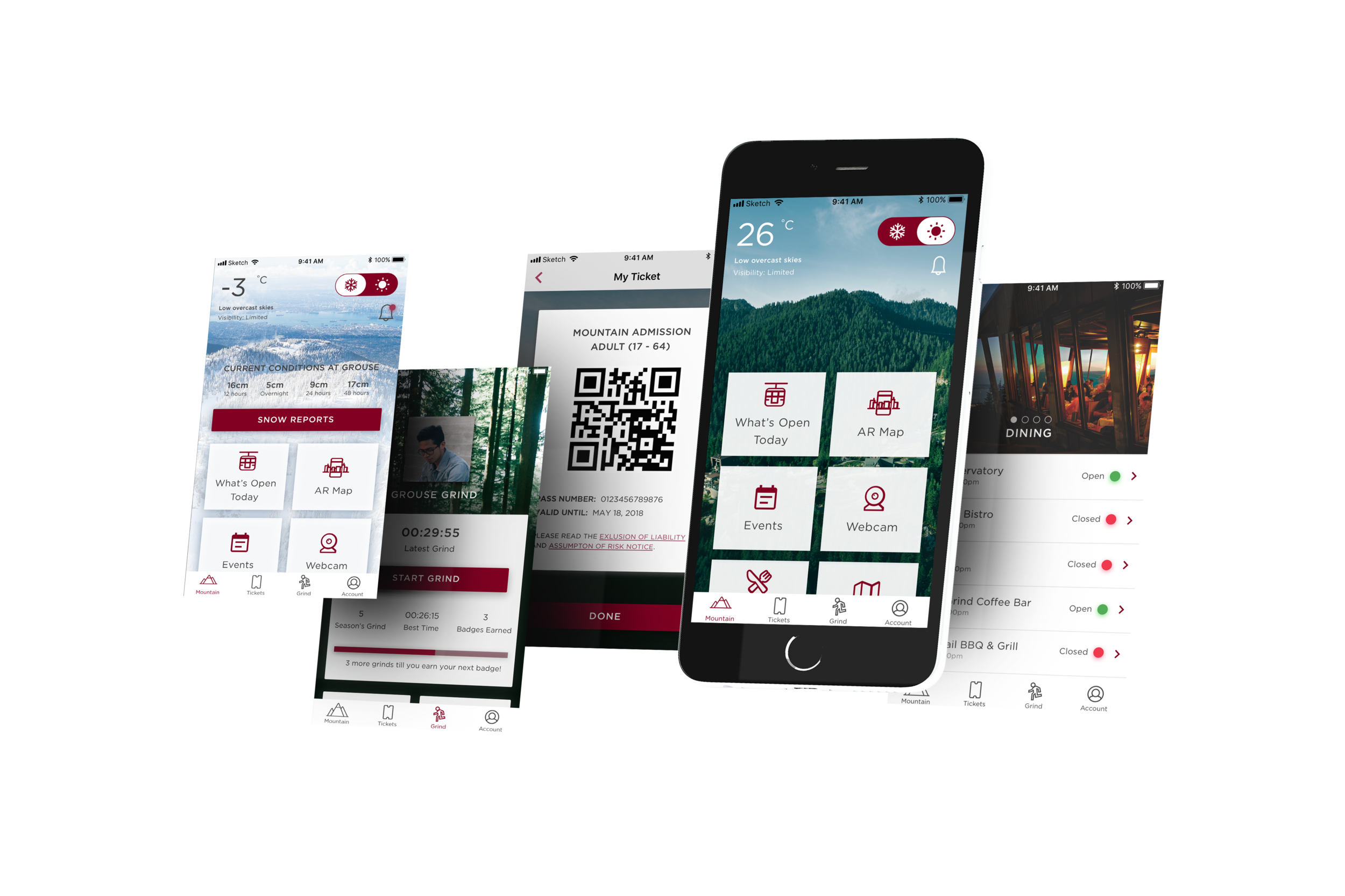 Grouse Mountain mobile app mockups by FreshWorks