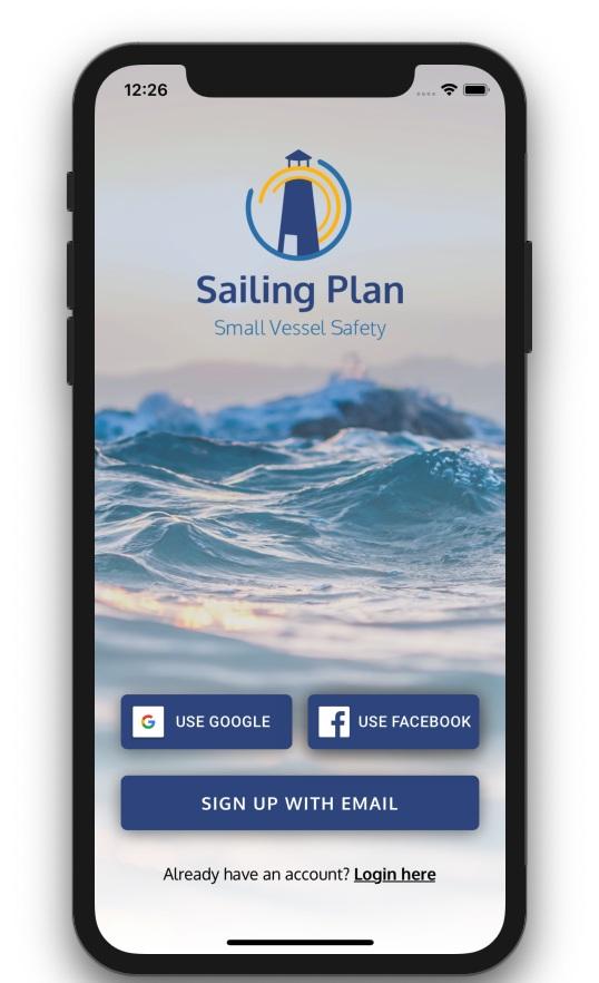 Sailing Plan App Start Screen