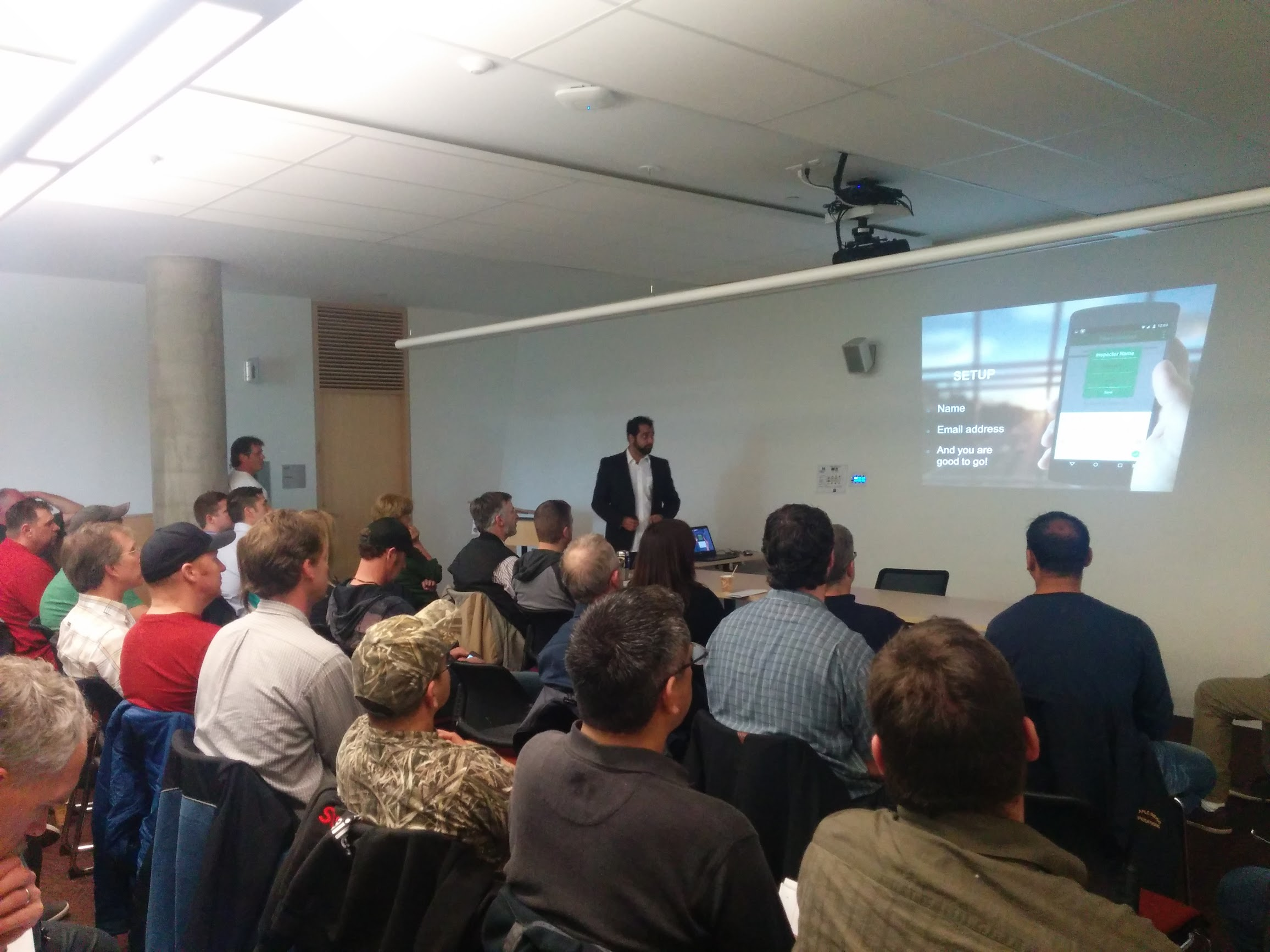 Sam & Rohit demonstrating (training) Dike Inspectors on how to use the Dike Inspection app