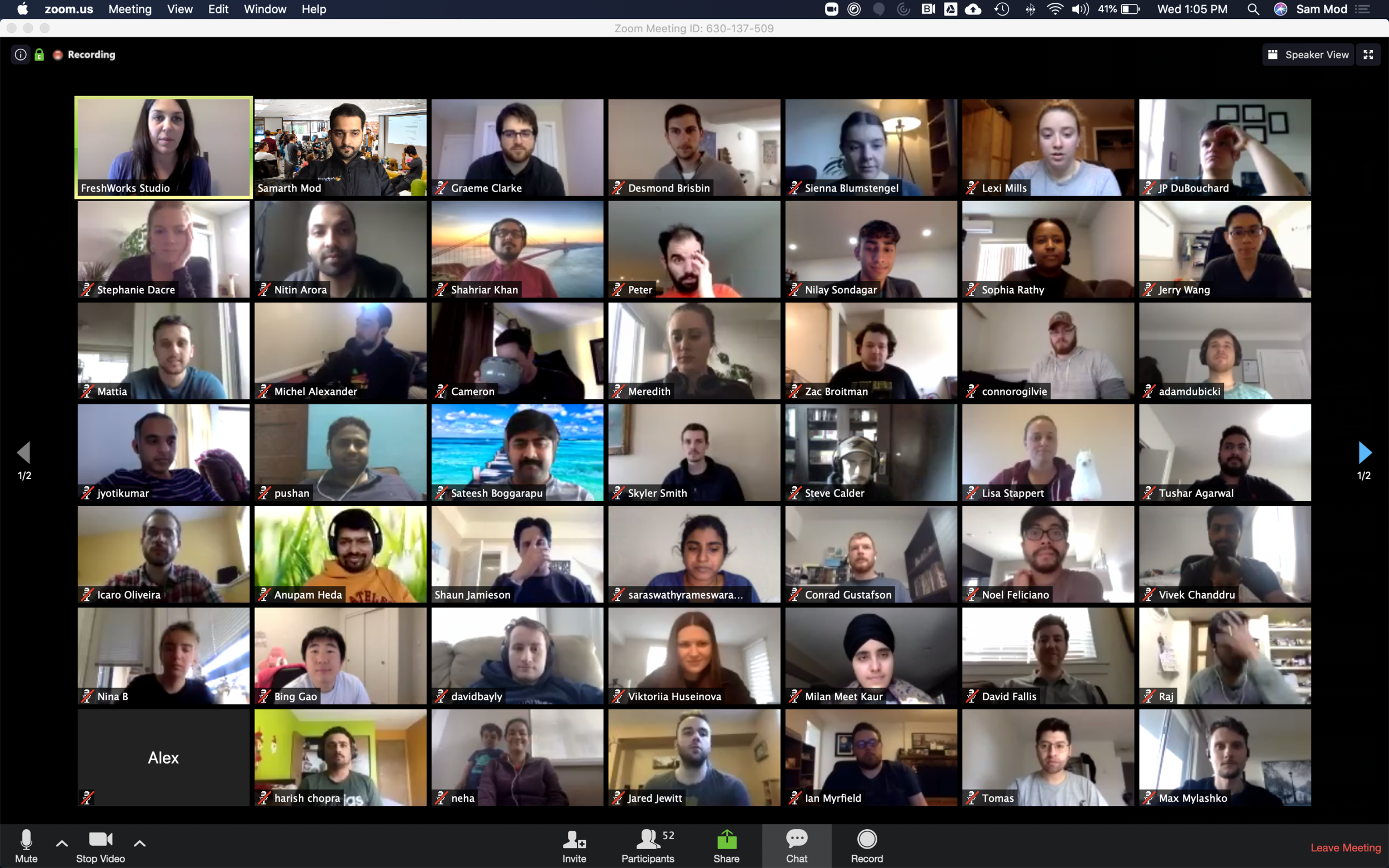 Here's some of our team joining in for our first all-remote demo day this week.    Once a month we all get together to listen to teams share what they've been working on over the past month.