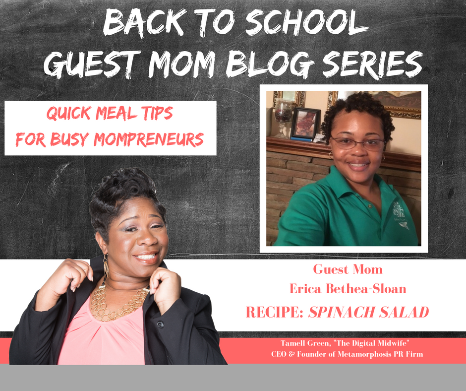 """""""Hey Moms!  It's BACK TO SCHOOL TIME!!!  That means so many things for families, but we want to highlight one of those and that is  QUICK & EASY  r ecipes for busy Mompreneurs . Often times, busy doesn't always mean productive, but with a bit of help and organization we become busy, BUT PRODUCTIVE Mompreneurs. To help me do this, I have enlisted the help of some very enthusiastic Moms! They have provided their family's favorite quick, easy, & healthy meals!"""" -Tamell Green"""