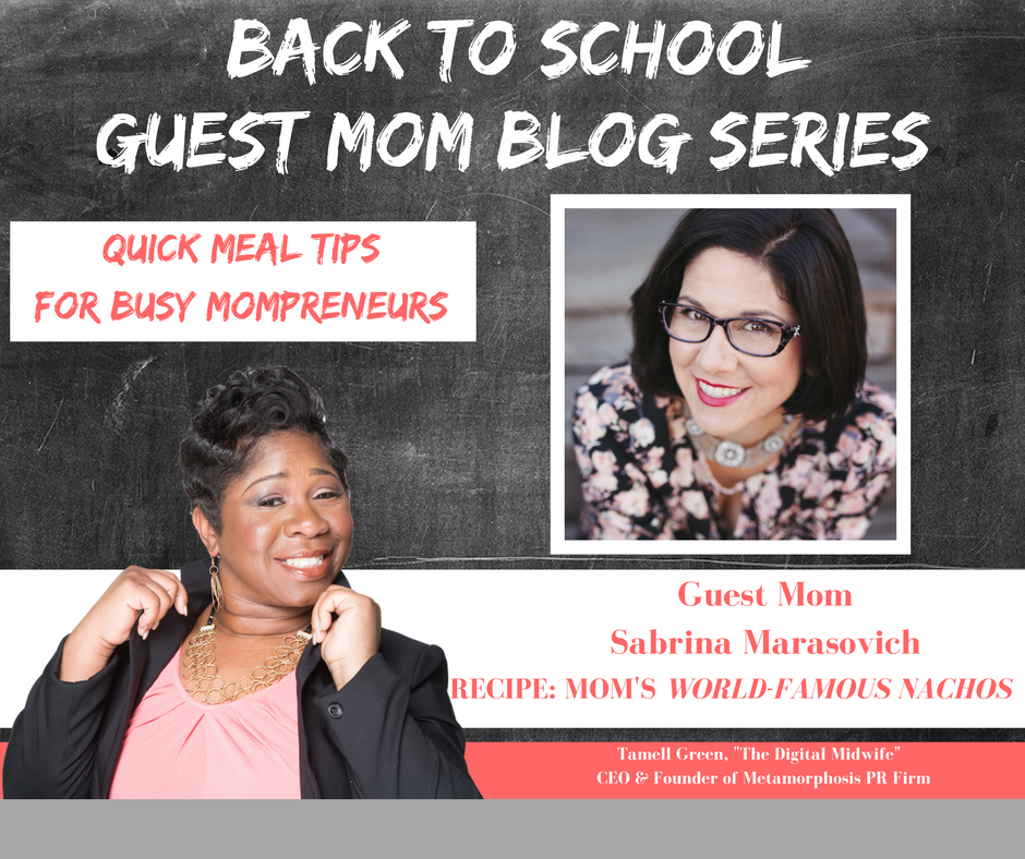"""  Hey   Moms!    It's BACK TO SCHOOL TIME   !  !!   That means so many things for families, but we want to highlight one of those and that is    QUICK & EASY      recipes for busy Mompreneurs  . Often times, busy doesn't always mean productive, but with a bit of help and organization, we become busy, BUT PRODUCTIVE Mompreneurs.   T o help me do this, I have enlisted the help of some very enthusiastic Moms!     They have provided their family's favorite quick, easy, & healthy meals    !"" -   Tamell   Green"