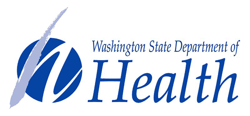 Blue Washington State Department of Health Logo and text