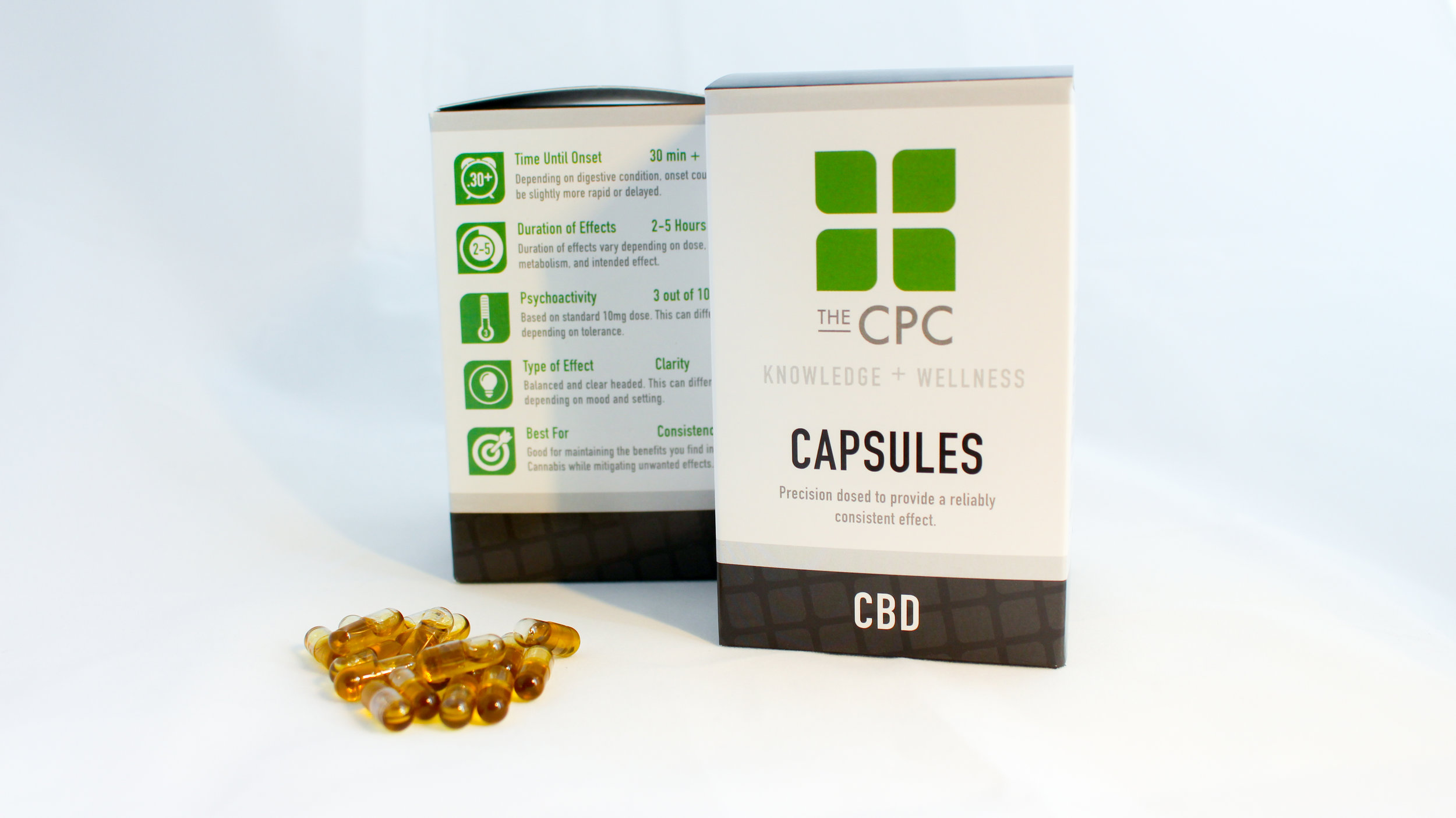 Box of Twenty 5mg CBD / 5mg THC capsules