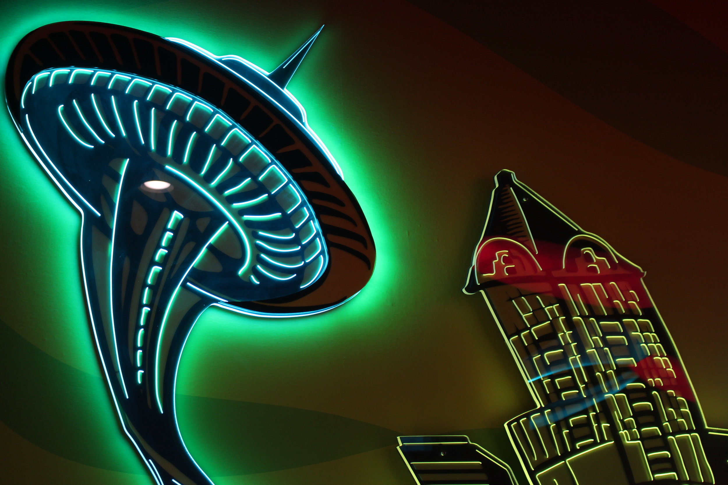 Have a Heart Belltown Seattle Trippy Neon Space Needle and Smith Tower.JPG