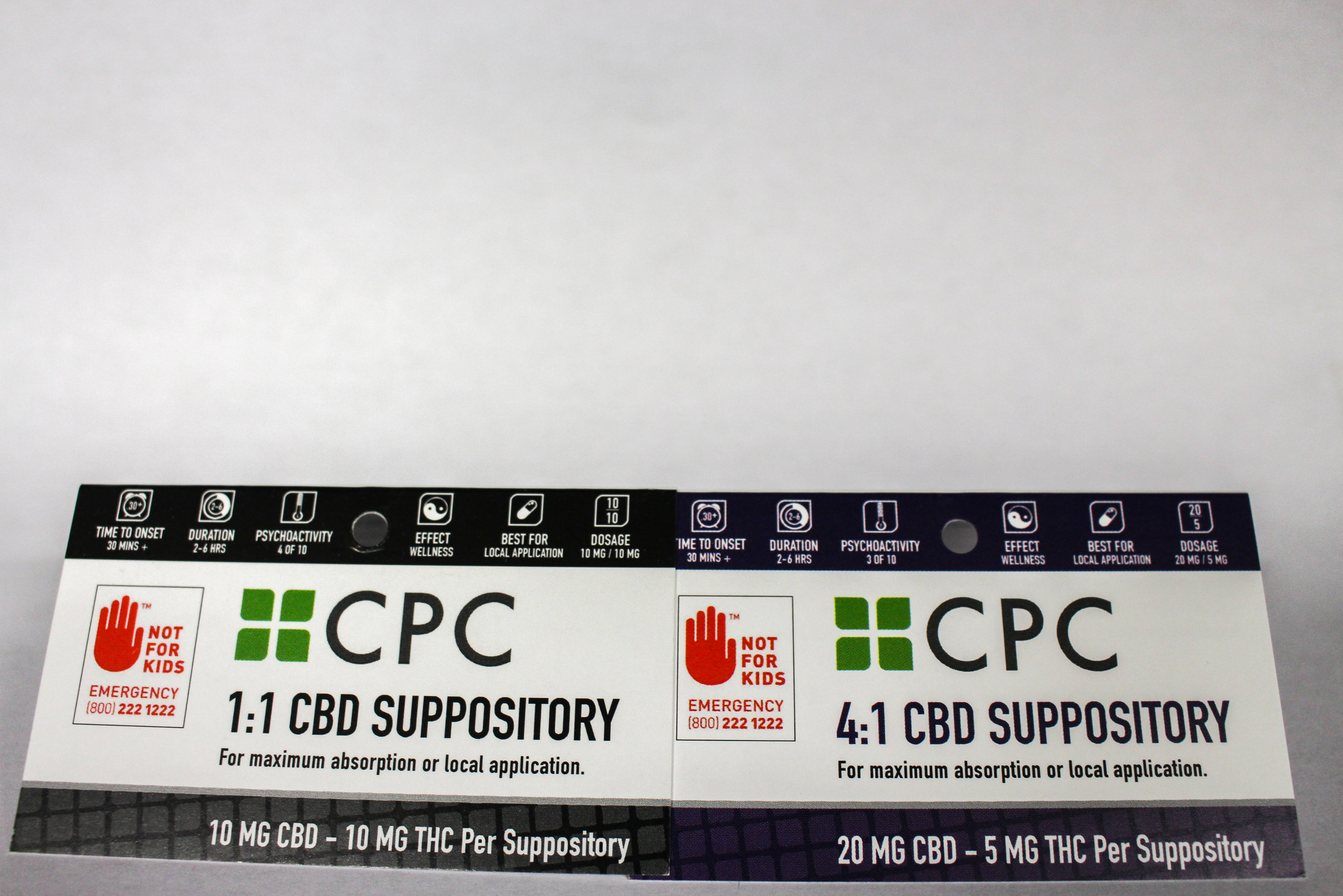 CBD and THC Cannabis suppository packaging