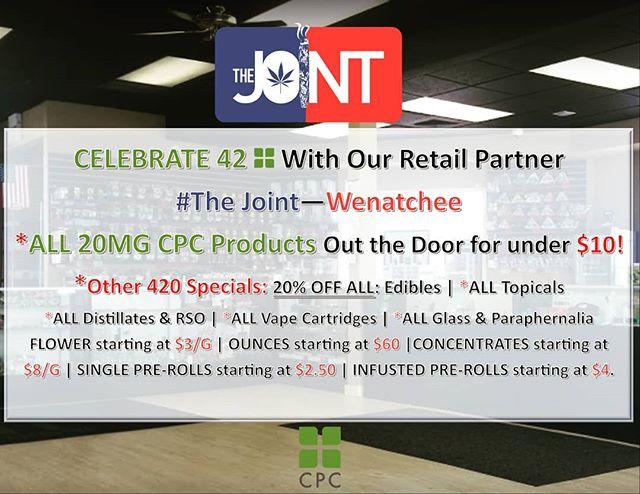 Join our retail partner @thejointwenatchee tomorrow for their amazing 420 Specials! #i502retail #i502 #420seattle #420 #wenatchee #health #wellness #amazingcannabis #amazing #cannabiscommunity #cannabissaves #cannabis