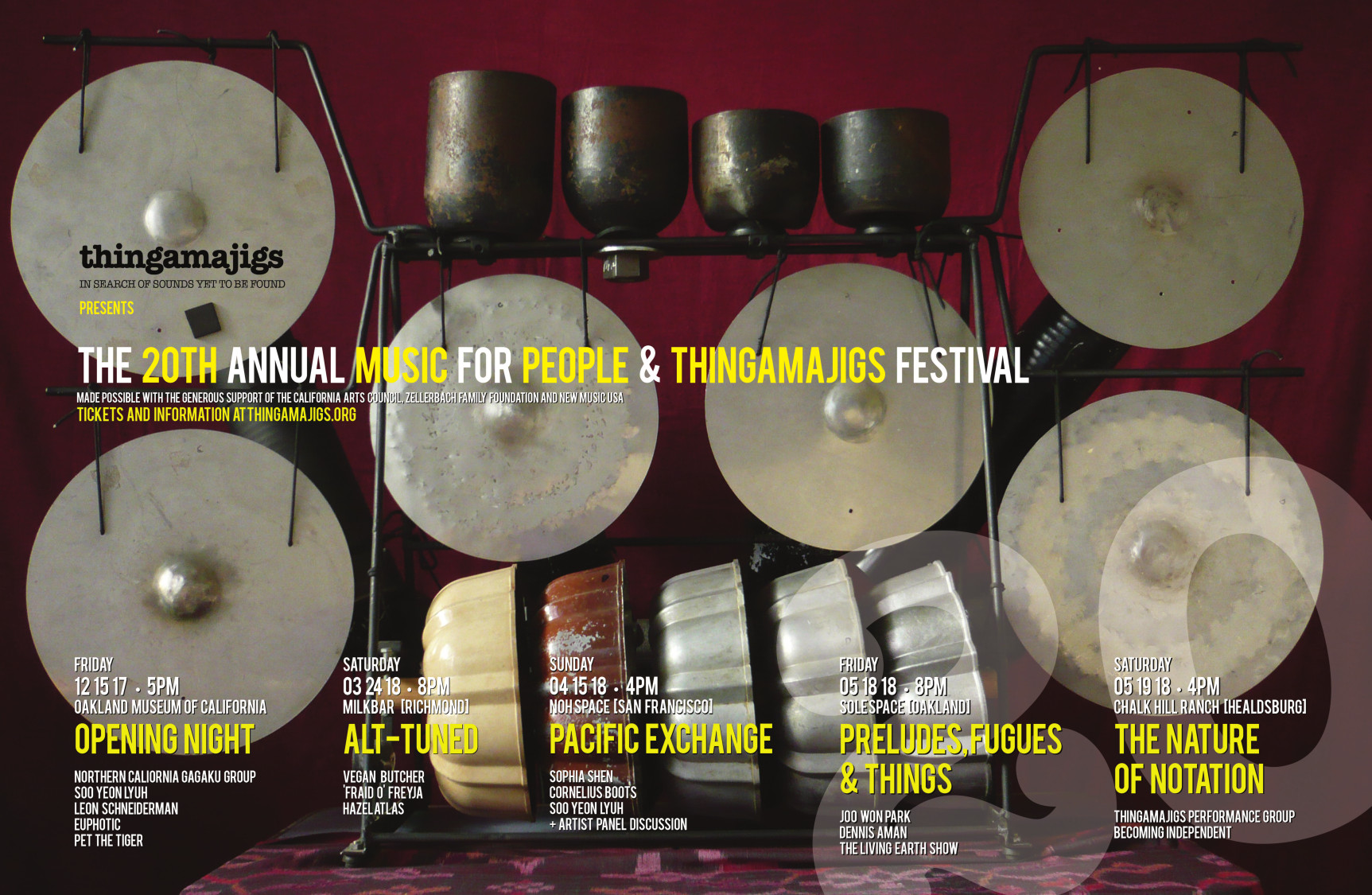 20th Annual Music for People & Thingamajigs Festival     Dec 15, 2017 - May 18, 2018