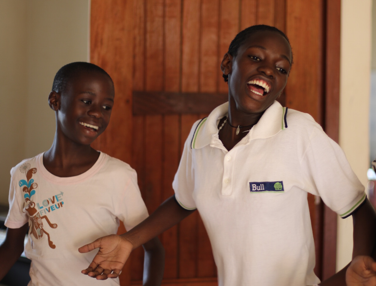"""""""Music is powerful. It gives children an opportunity to tell their stories and become aware of their potential and self worth,"""" said Branco. (Left to right: Shamsha and Cissy)"""