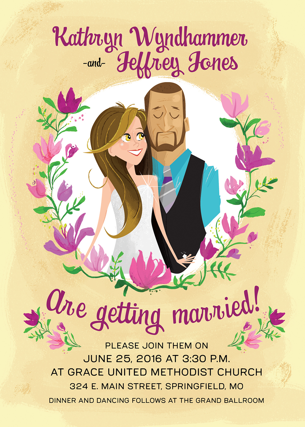 Illustrated Wedding Invitations ** Deposit ** — Michaela Schuett