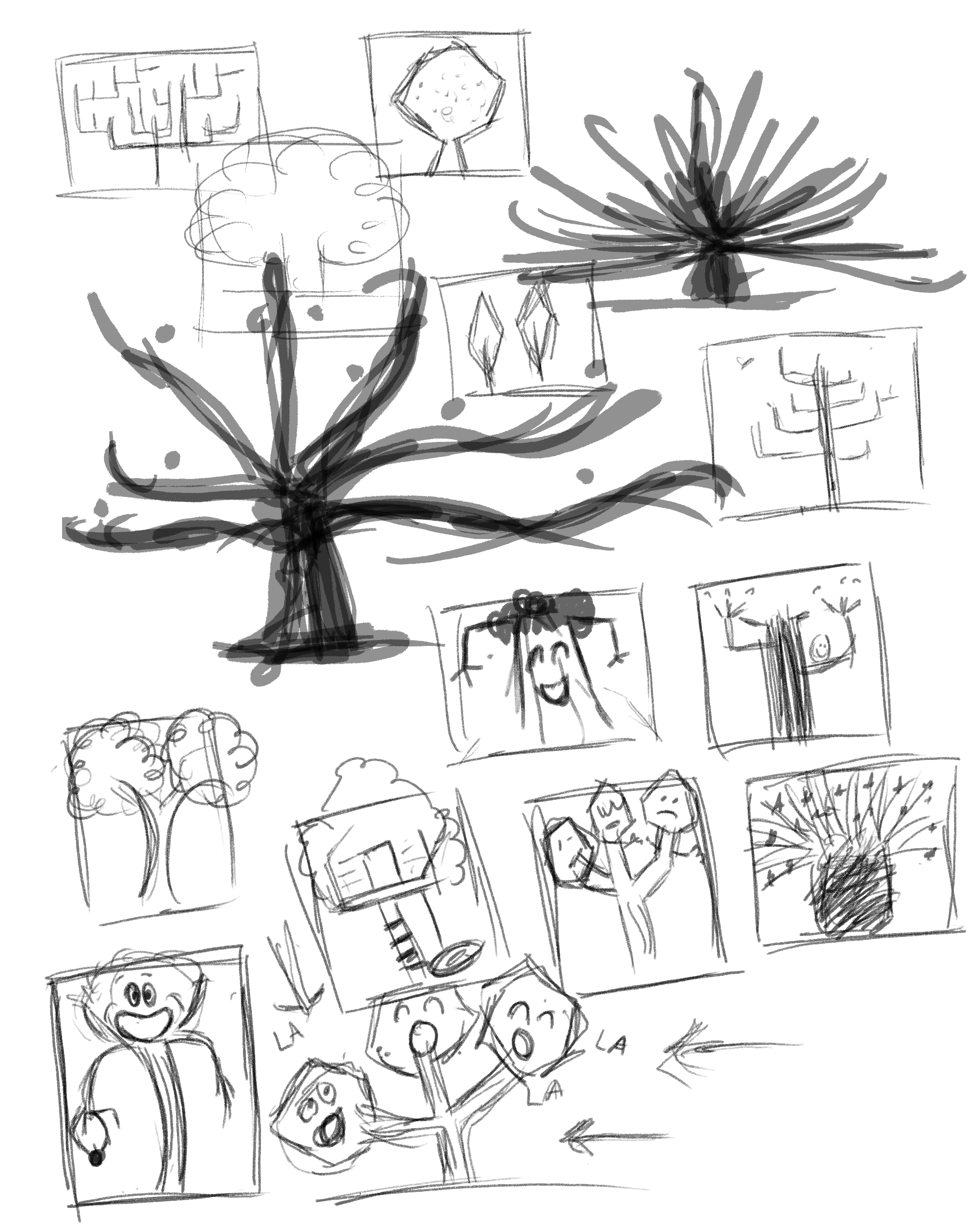 First messy sketches and thumbnails - I was really trying to get them to experiment a lot with their trees.