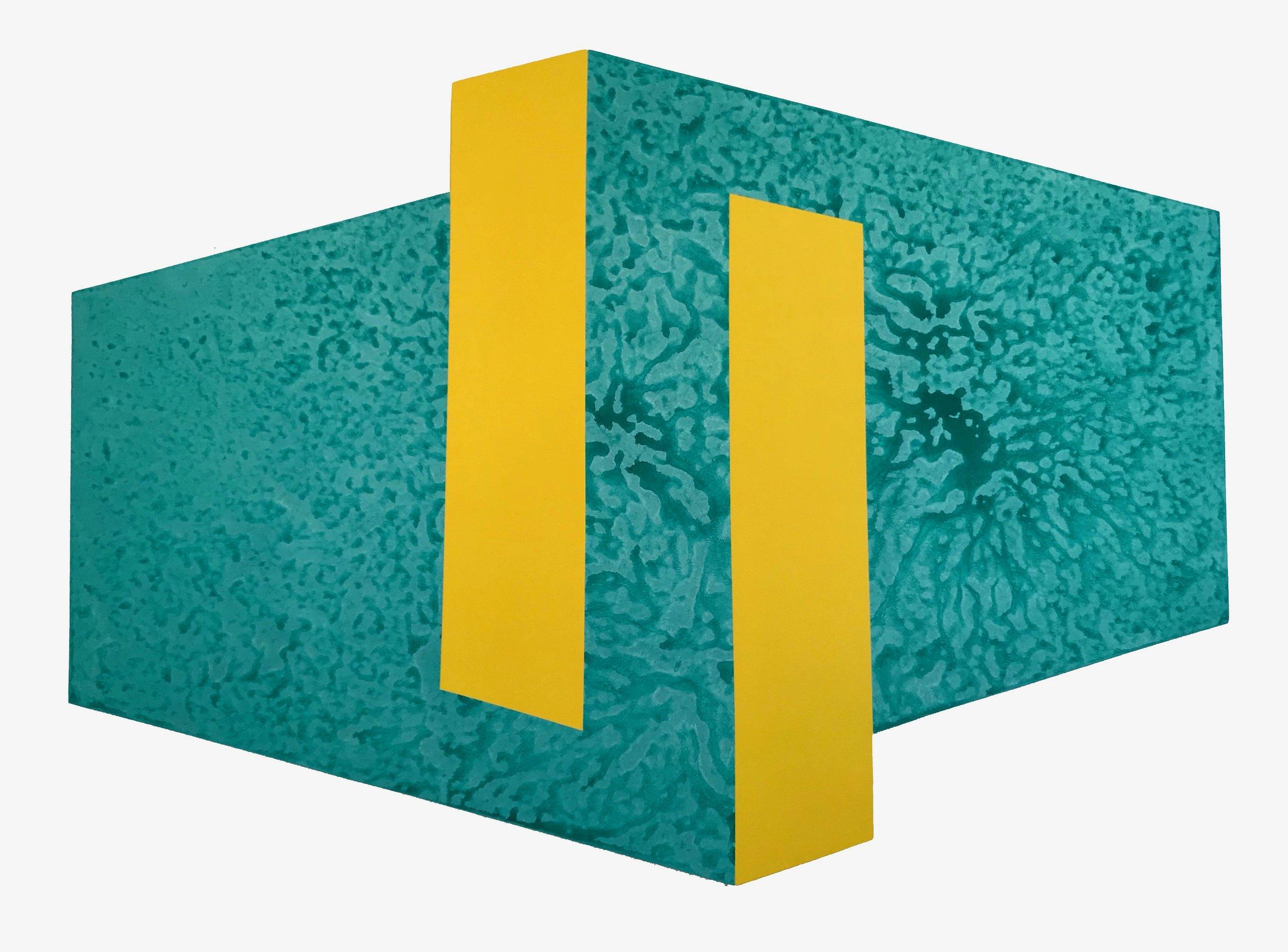 """Yellow on Teal, 2018, 48"""" x 66"""", acrylic on panel"""