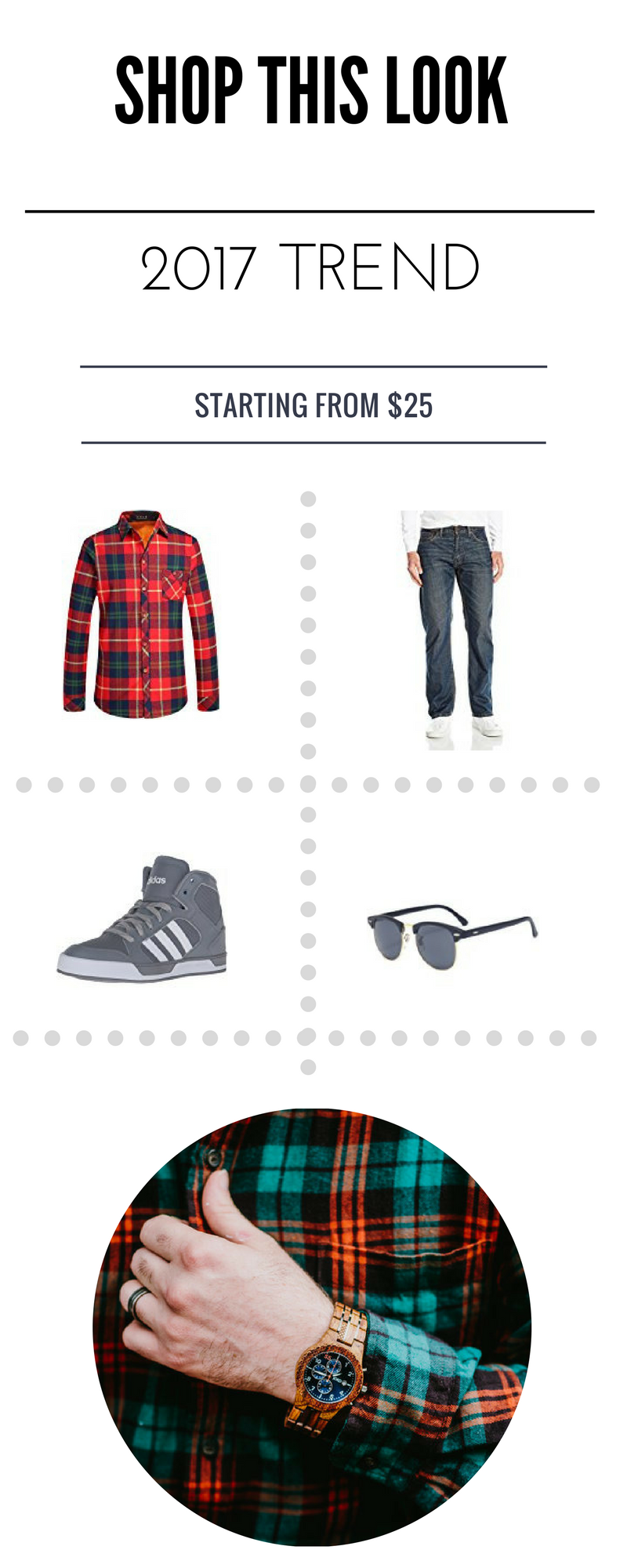 Flannel Shirt  //  Straight Fit Jean  //  Lace-Up    Shoe  //  Clear Lens Glasses  //  JORD Wooden    Wrist Watch