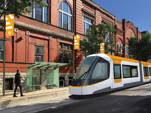The Streetcar will take riders to Cincinnati's central business district, ball parks and the riverfront.