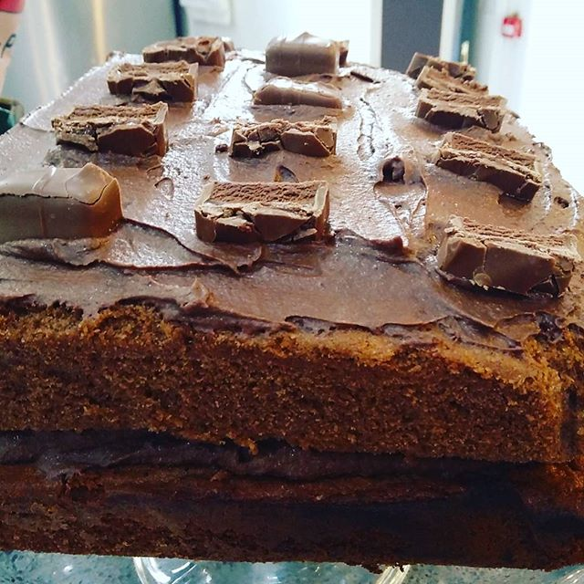 ENORMOUS Mars Bar topped chocolate cake on offer today. It's a real doorstop #baking #smallbusiness #cafe #catering #huddersfield
