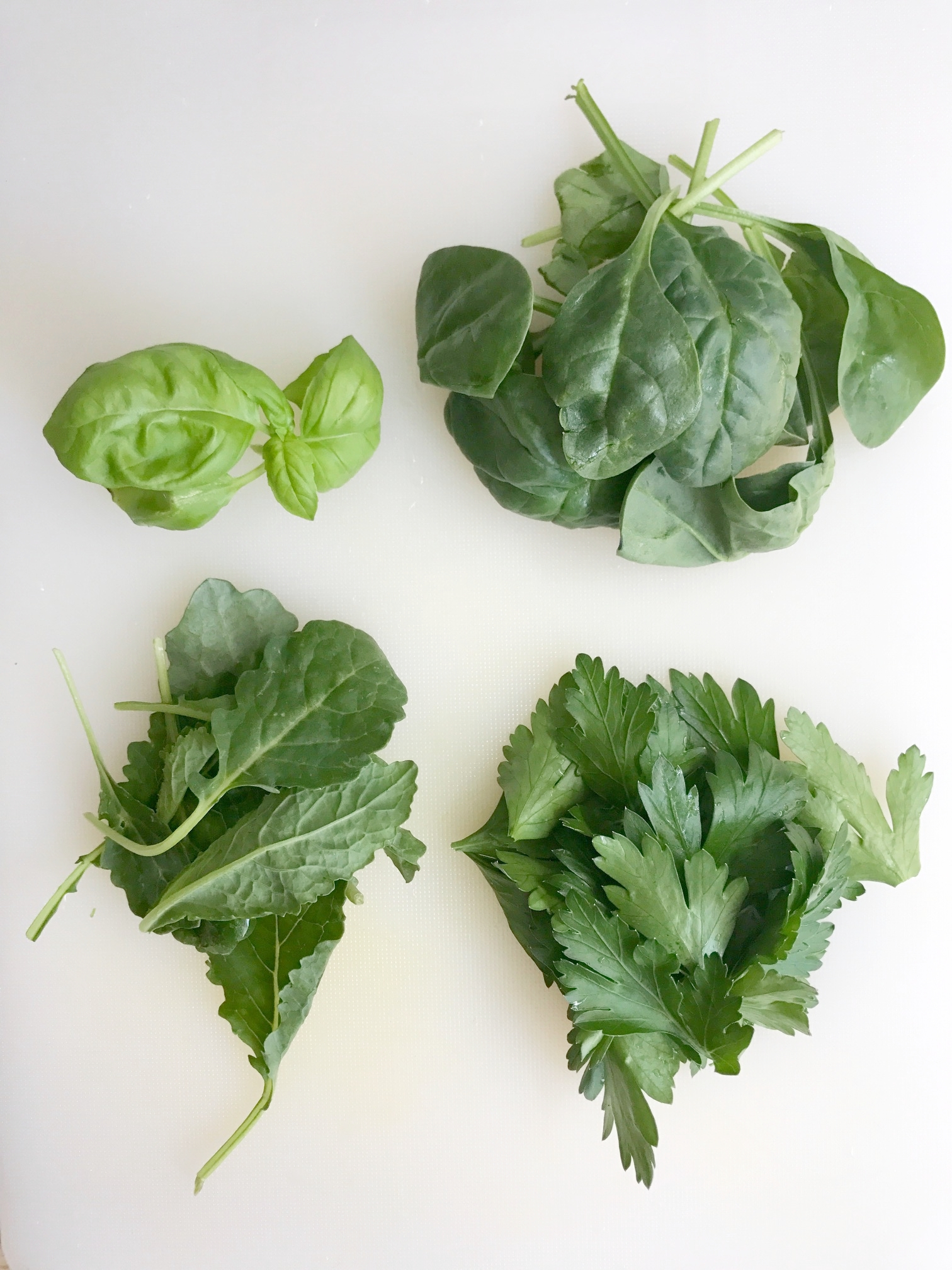 Clockwise from top left: basil, spinach, Italian flat leaf parsley, baby kale