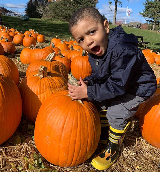 \\CAPTION THIS// Caught my nephew, Ellis, having a moment with this pumpkin and making the funniest faces. We had a great time at the farm/orchard today!