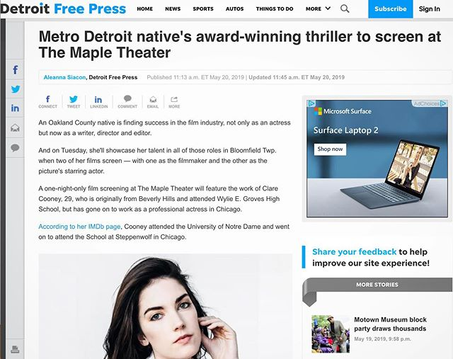 Look Ma, I made the paper! Very cool to get a little write-up in the @detroitfreepress about our film screening at @themapletheater tomorrow night! Metro Detroit film lovers, check out my short film RUNNER and @whitecitycinema's feature RENDEZVOUS IN CHICAGO (which I'm in!) tomorrow night! Click link in bio for full story (tix link in article). • • • • • #detroit #metrodetroit #independentfilm #filmlovers #filmmaker #femalefilmmaker #thriller #shortfilm #artfilm #indiefilm #actor #actorslife #bloomfieldhills #cinema #filmscreening #tomorrow #movies #tickets #linkinbio #detroitfreepress