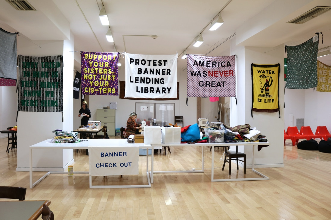 Protest Banner Lending Library at the Chicago Cultural Center. Photo by Kanthy Peng