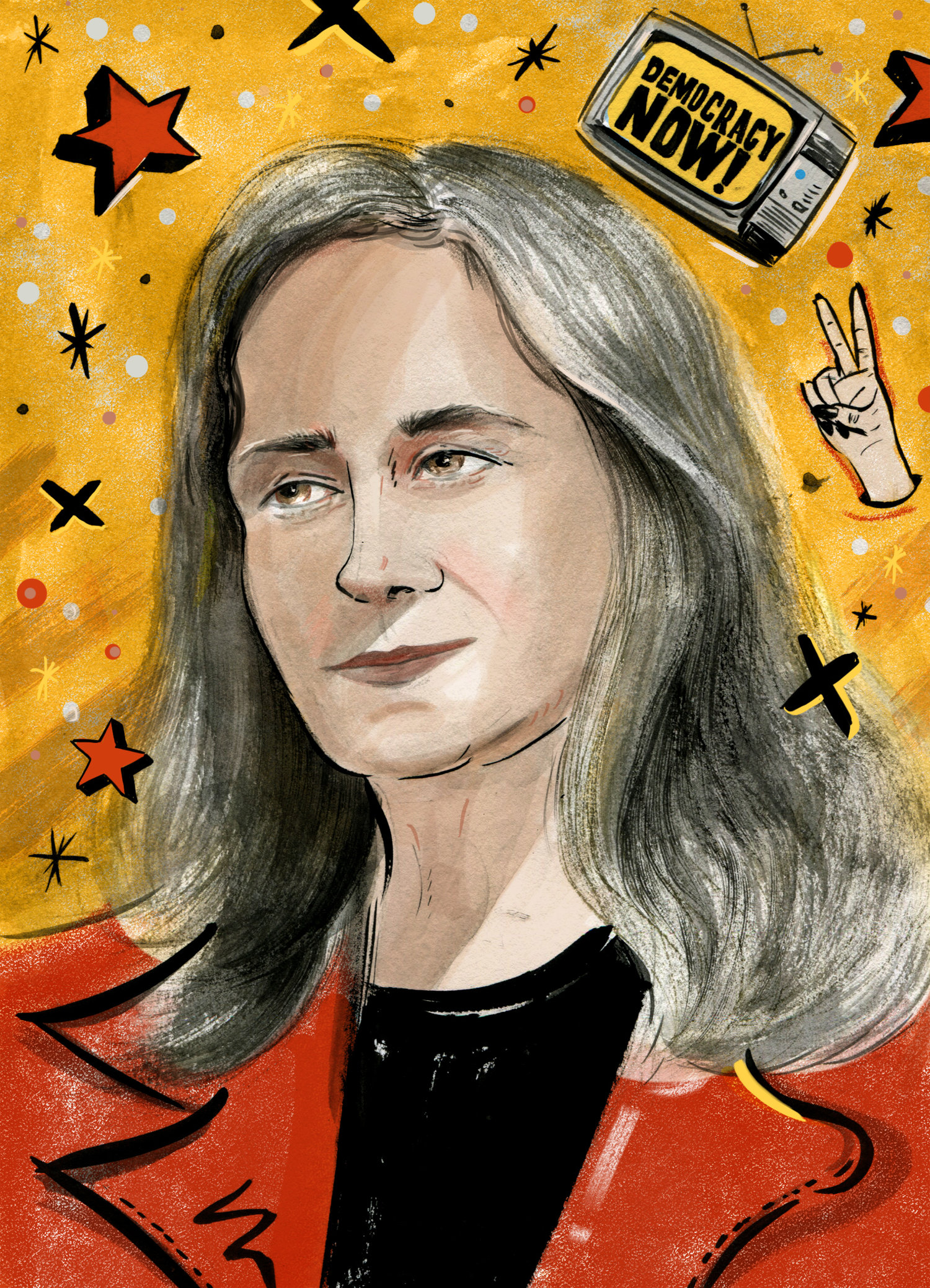 """Portrait of Amy Goodman"" by Vivian Shih. Image courtesy of artist."