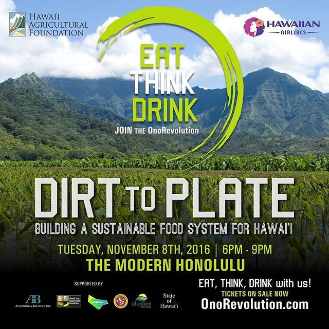 "Join the Ono Revolution! We're proud to have our very own Wendi Akiyama speak at the ""Dirt to Plate"" event hosted by @hiagfdn at @modernhonolulu on Nov. 8th. Enjoy #onolicious food & drinks prepared by #localchefs and hear young thought leaders share their perspective on sustainable food systems in #Hawaii. To purchase tickets, click link in bio! ▽ 🎙SPEAKERS:  @michelnischan @kahukufarms @munchies @alounfarms @donovandelacruz  @armstrongproduce ▽ 🍴CHEFS: @restaurantsenia @ckcuisine21 @robynnemaii @fetehawaii @topofwaikiki @keetay @piggysmallshawaii ▽ #onorevolution #luckywelivehawaii #hawaiievents #foodandwine #local #localgrowers #localmobettah #eatthinkdrink #dirttoplate"