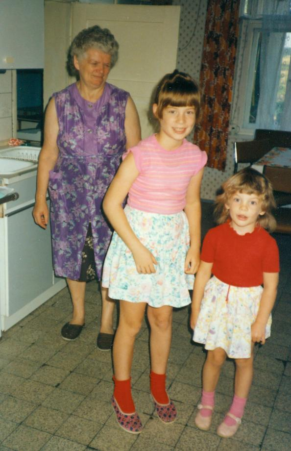 Ursula and her grandkids, Sarah in the center, and her sister to the right, in Germany