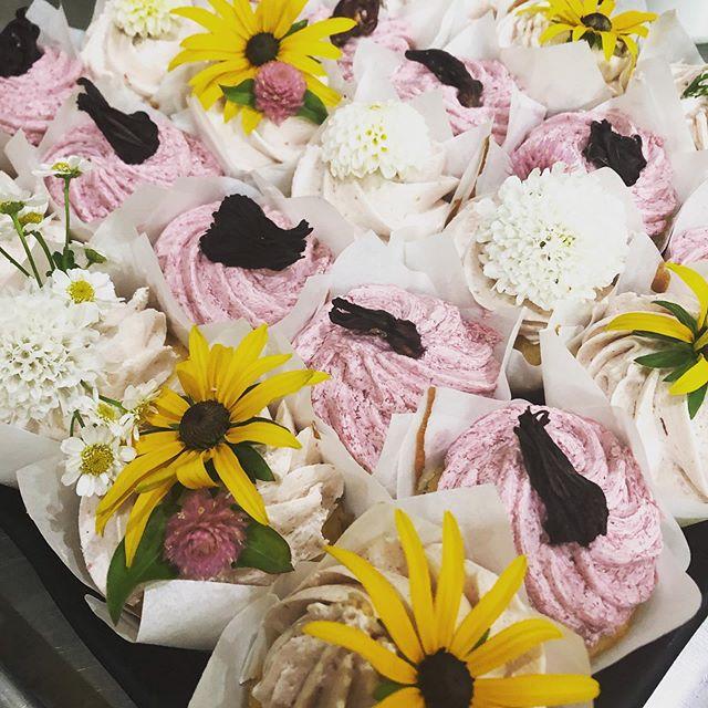 Vanilla Cupcakes with sweet hibiscus buttercream or strawberry buttercream decorated with fresh flowers from @elmgardendesign #brandenburgbakery #sullivancatskills #cupcakes #freshflowers #woodstockfestival #elmgardendesign #livingstonmanorny