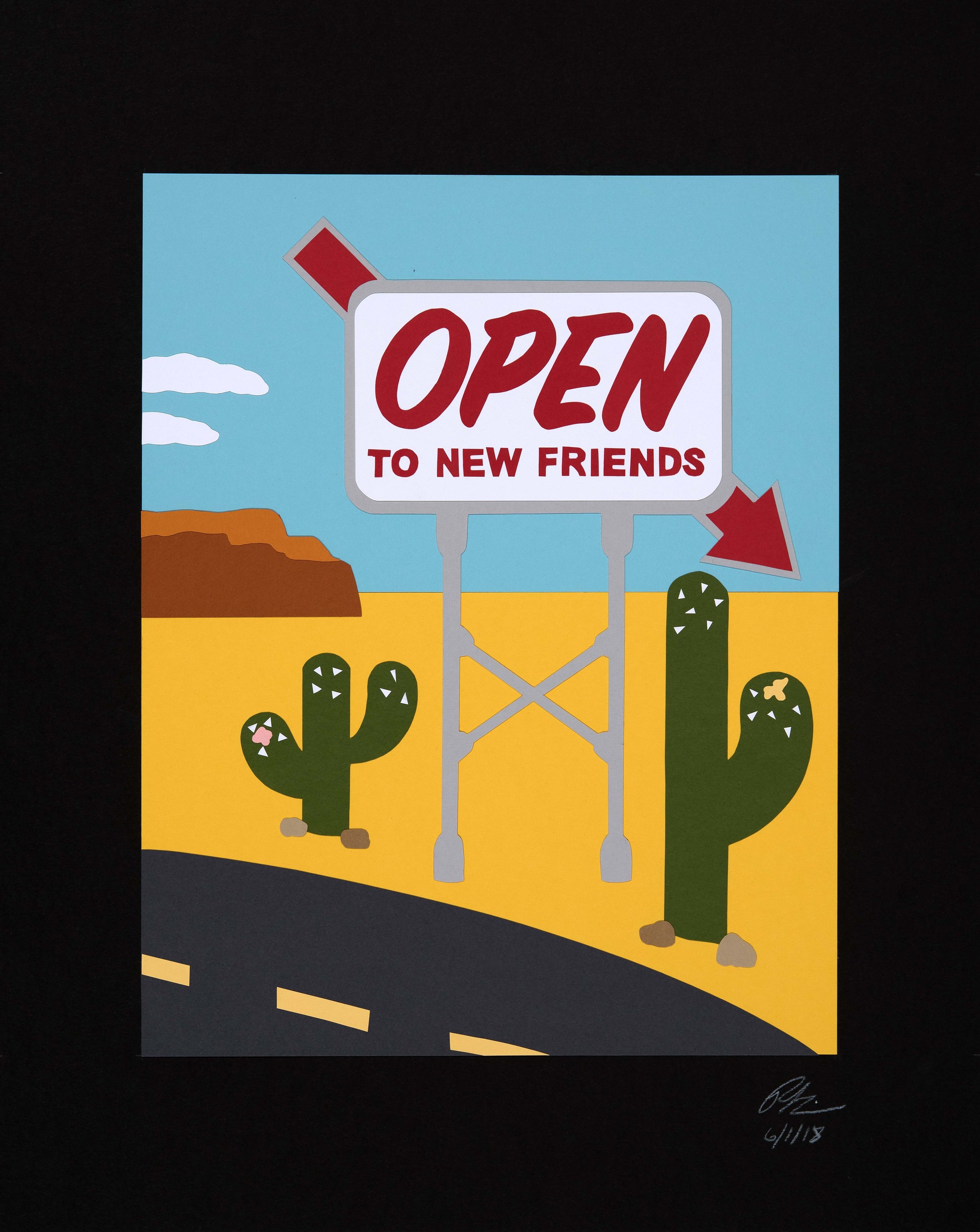 "Open To New Friends  Paper Collage on Mat Board  14"" x 11"" Collage on 20"" x 20"" Mat Board  $950"