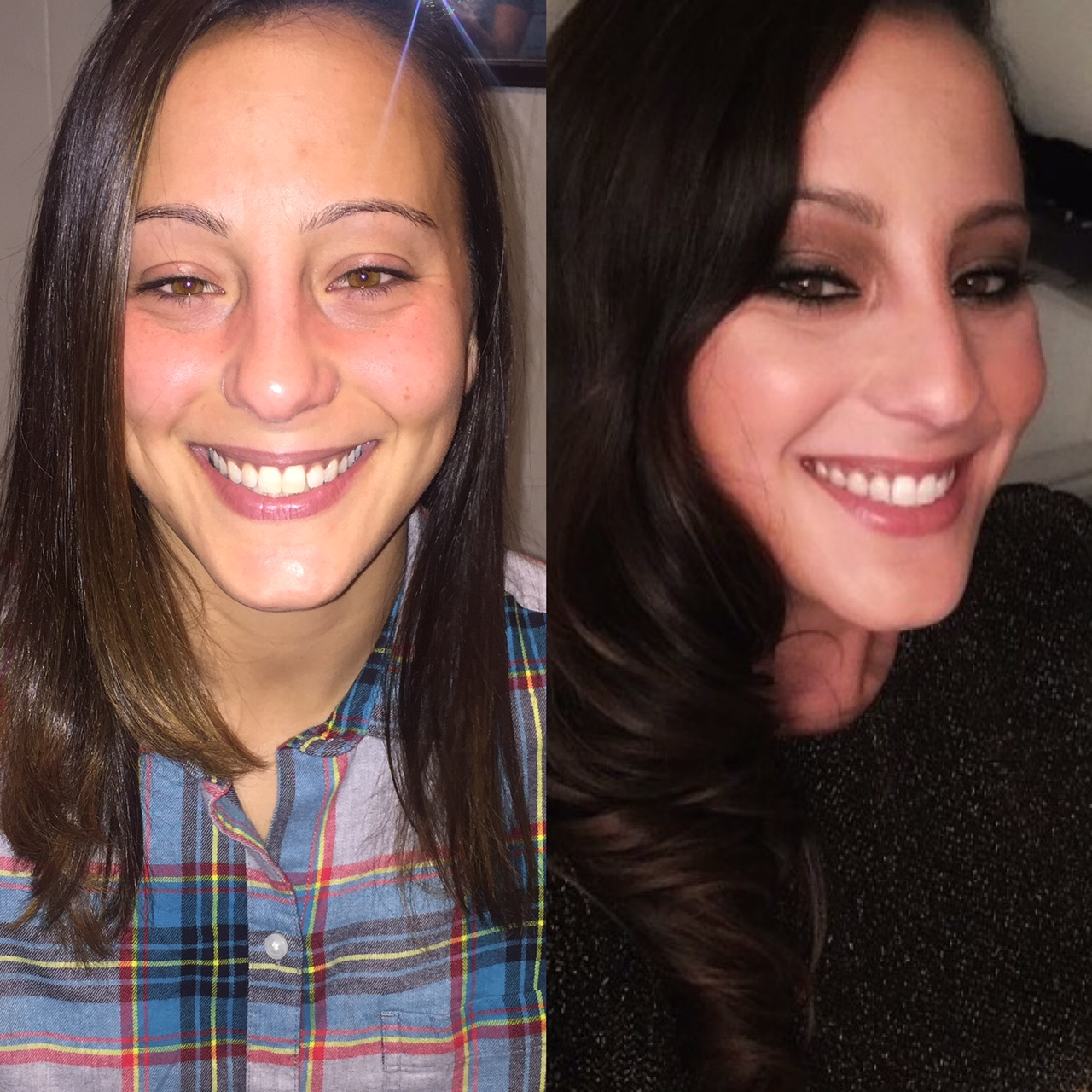 Hair & makeup before & after