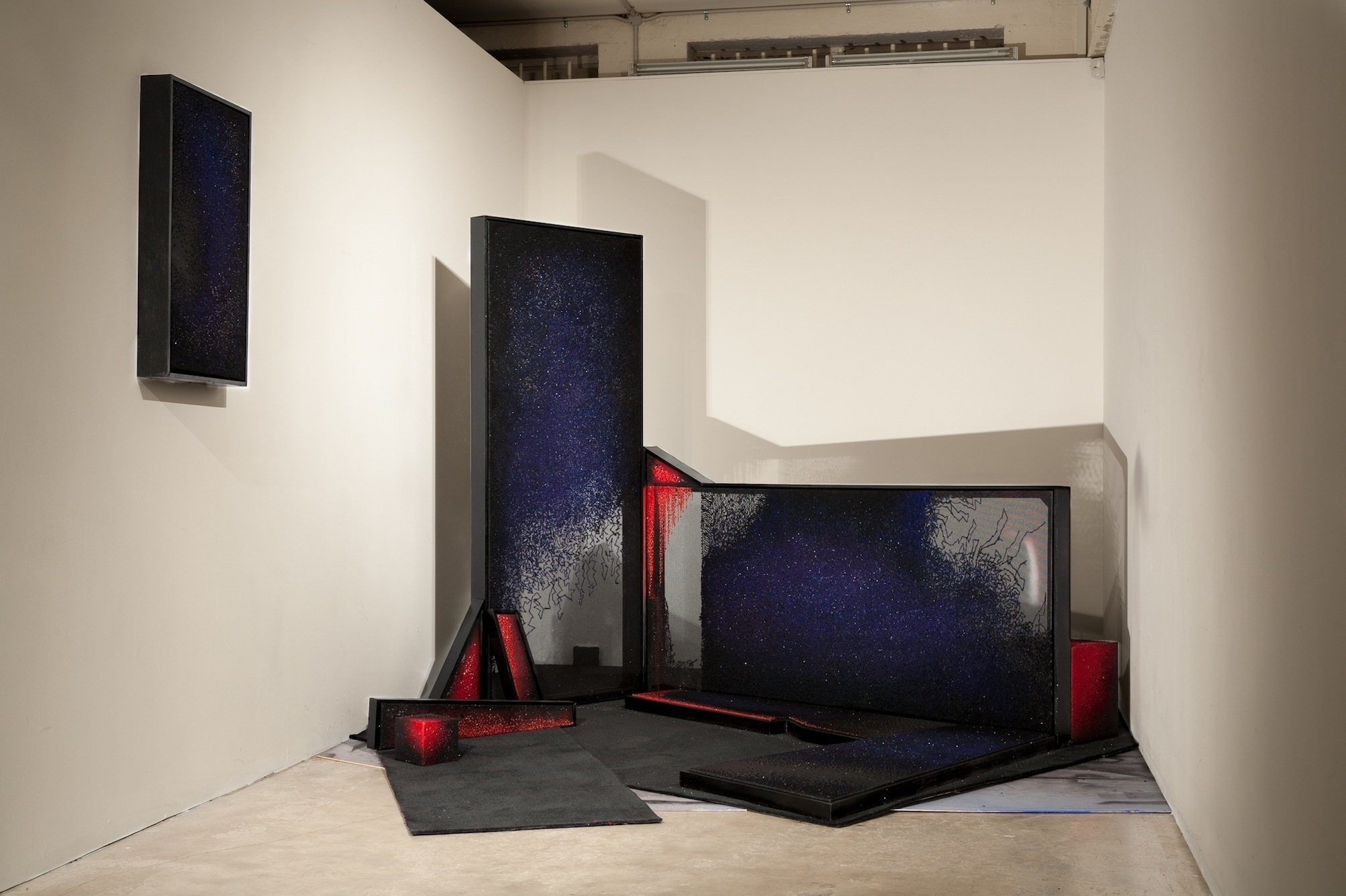 13. Georgina Cue, 'The Centre Doesn't Hold' (Installation Shot), 2015, Embroidery on Tapestry Canvas, Aerosol, Carpet, MDF, Dimensions Variable.jpg