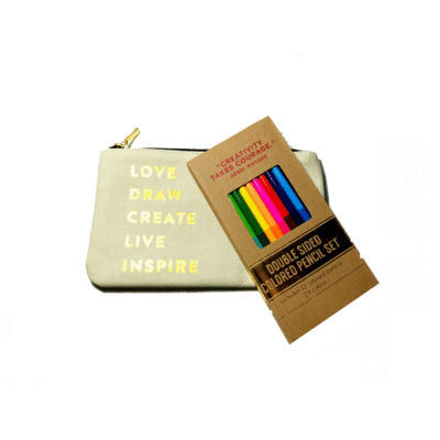 LOVE DRAW CREATE POUCH WITH COLORED PENCILS