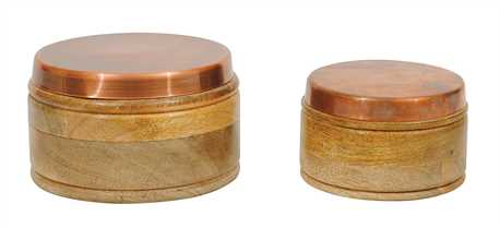 ADVIKA ROUND WOODEN BOXES WITH LIDS