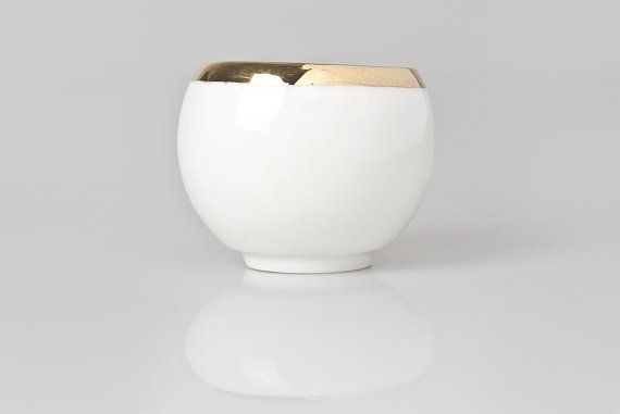 HANDMADE CUP WITH GOLD TRIM