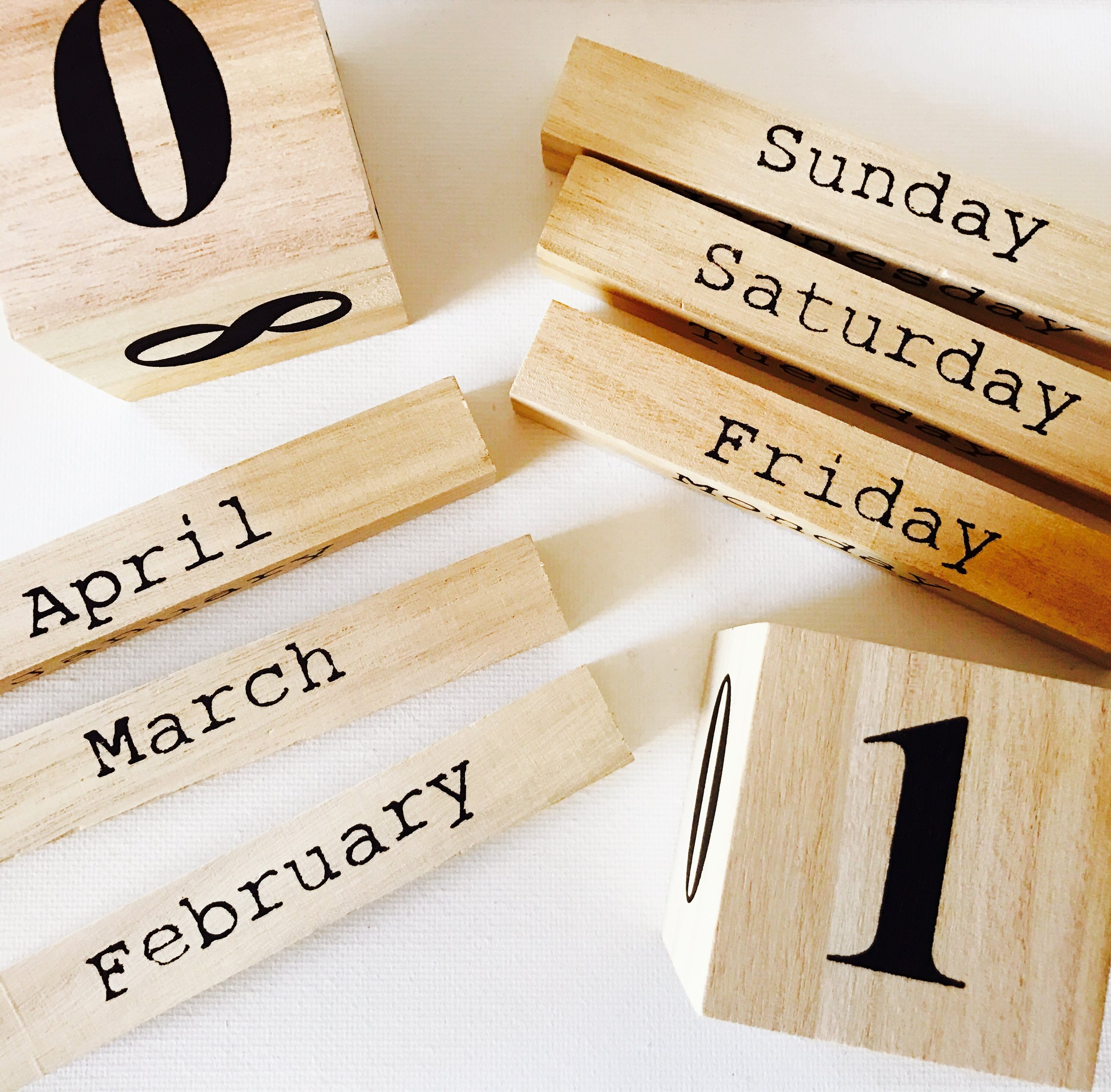 PERPETUAL CALENDAR WOOD BLOCKS